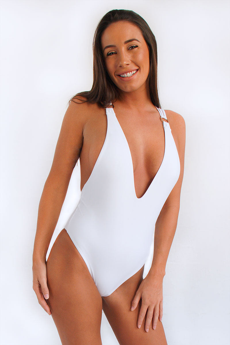 Jessica once-piece sexy swimsuit in white with strappy cross-over back, plunging neckline and high cut leg
