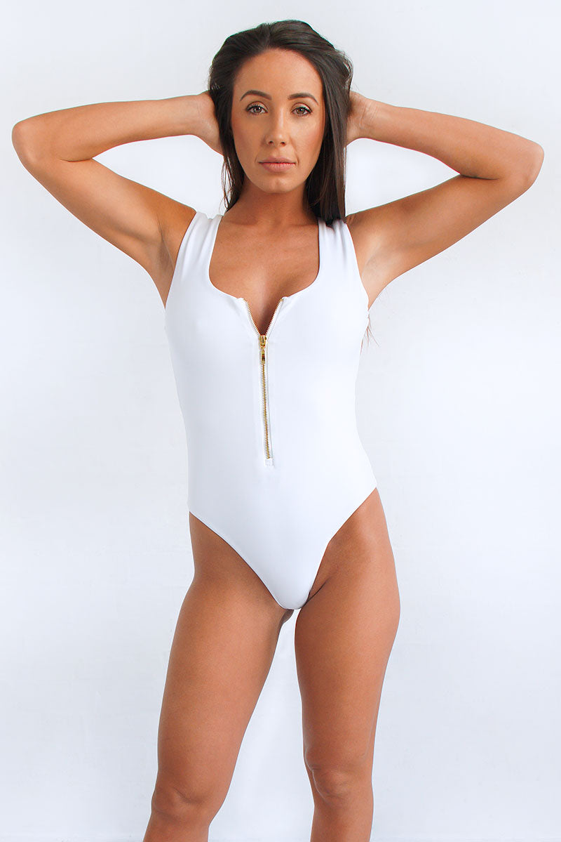 Womens zip front once-piece swimsuit in white by Watermark Swimwear