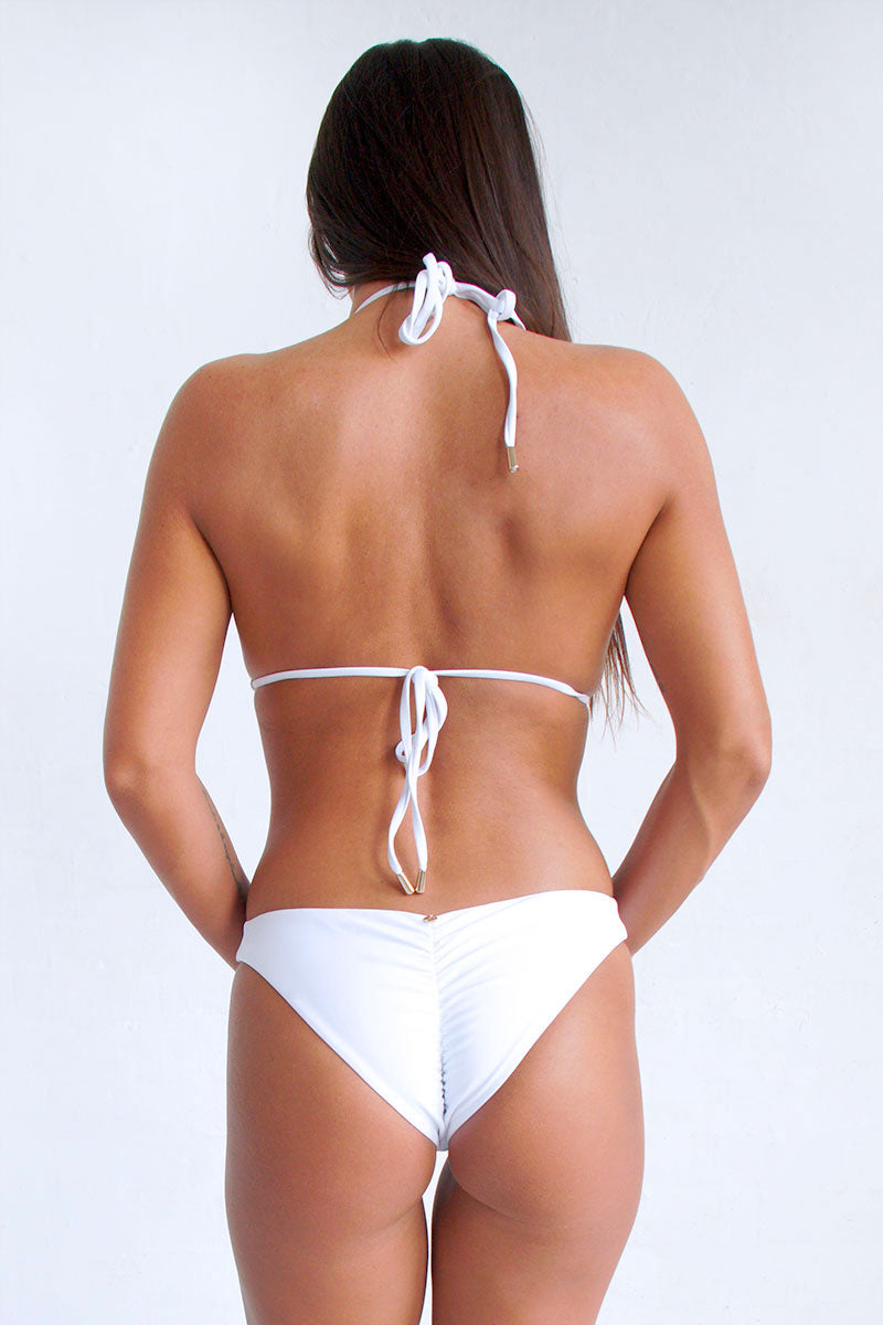 Simone White Ruched Back plunging V front Bikini Bottom from Watermark Swimwear