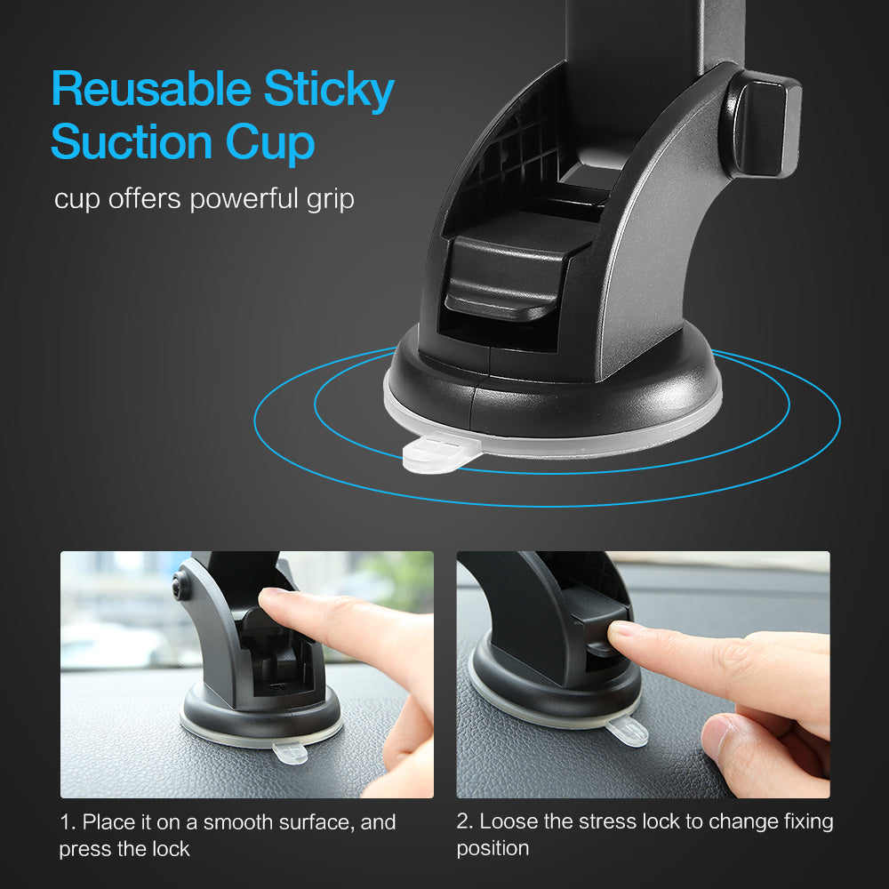 RAXFLY Telescopic Automatic Lock Car Holder 360 Rotation Adsorption Vehicle Mount Bracket Car Phone Holder For Samsung S9 Plus