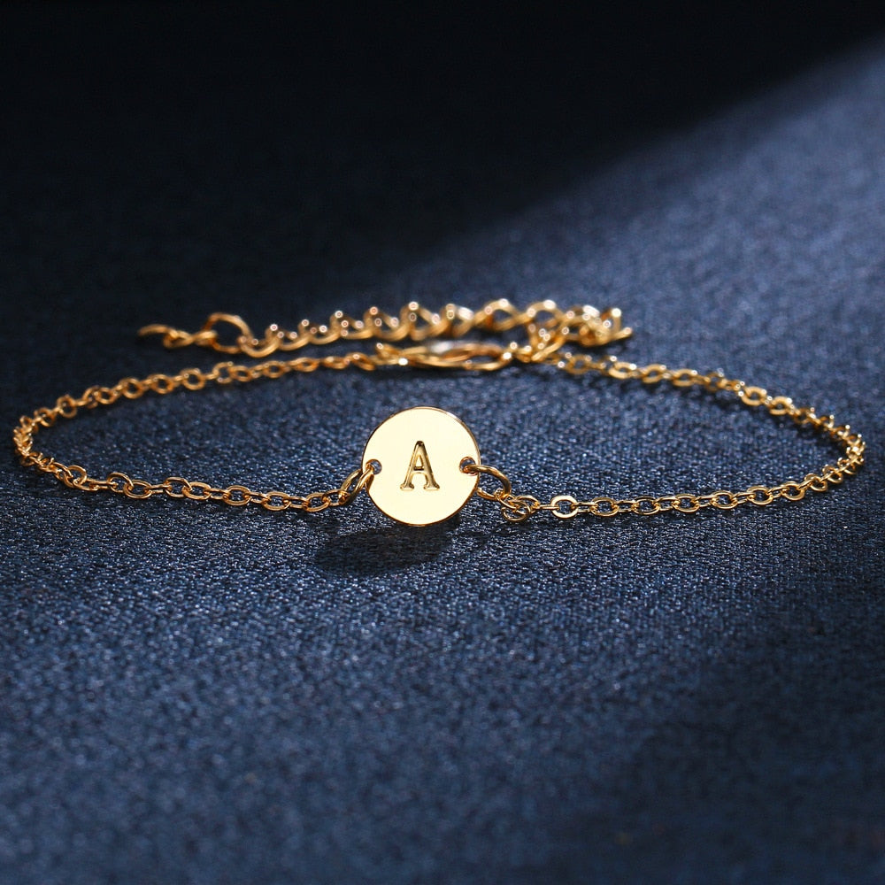 Custom Select A-Z Disc Letter Bracelet Personalized Initial Name Bracelet Couple Charm Jewelry for Women Fashion Love Gift