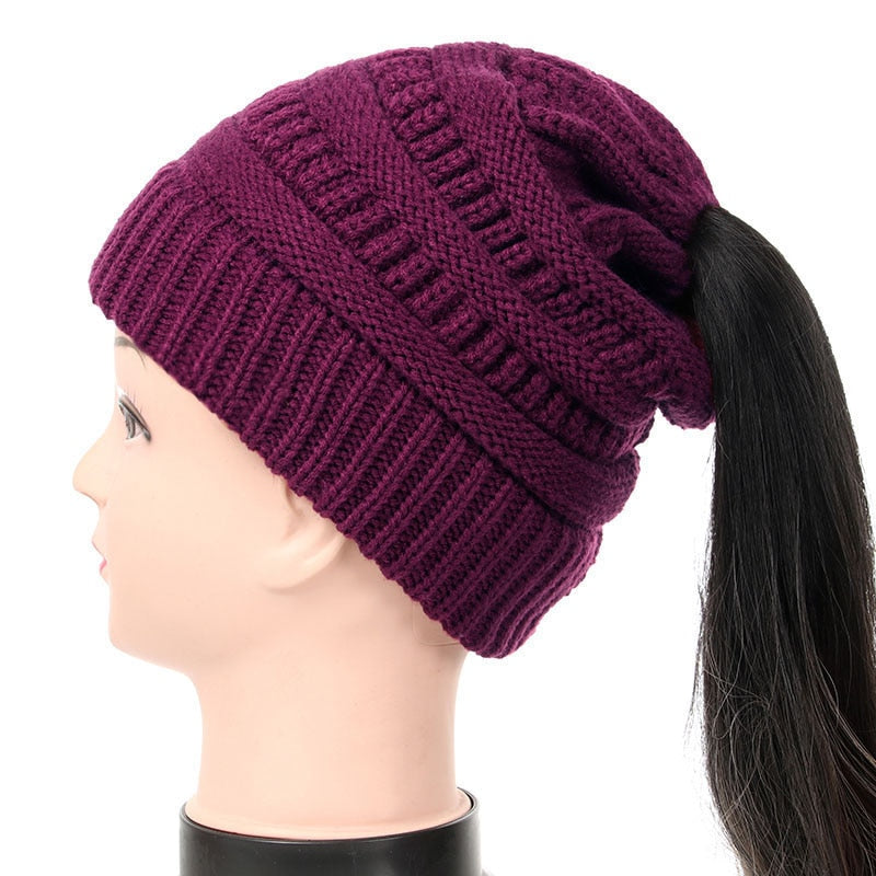 Knitted Messy Bun Ponytail Beanie