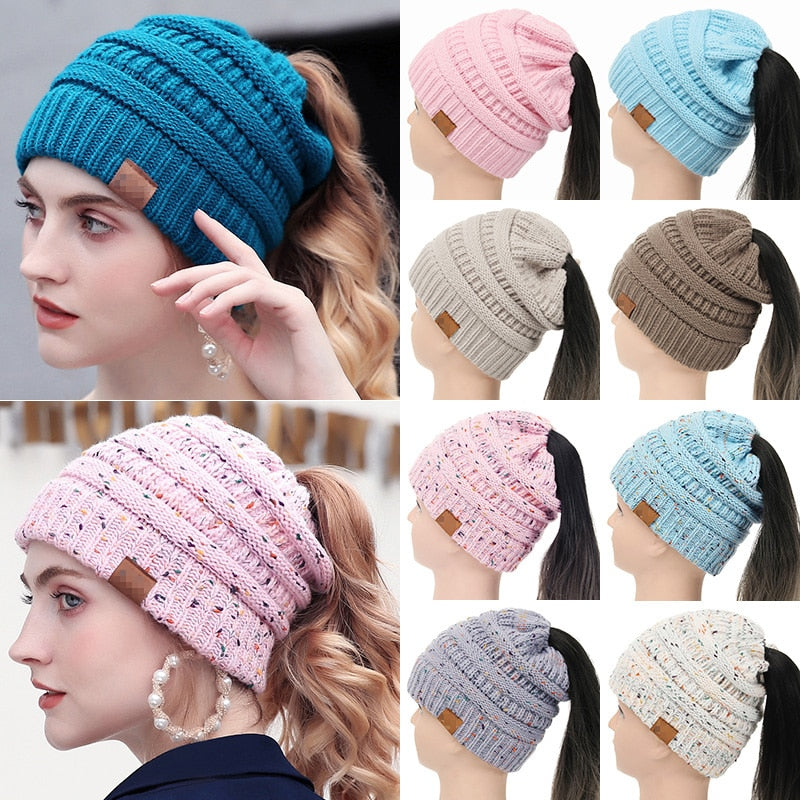 Drop Shipping 2018 Soft Knit Ponytail Beanie Women Warm Winter Hats For Women Stretch Cable Messy Bun Hats Ski Cap With Tag