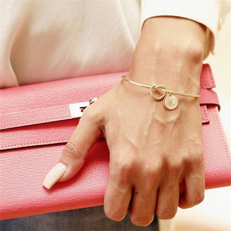 A-Z Letter Initial Name Gold Bangles for Women Bangle Bracelets for Women Knot Round Pendant Bracelet Jewelry Pulseira Mujer
