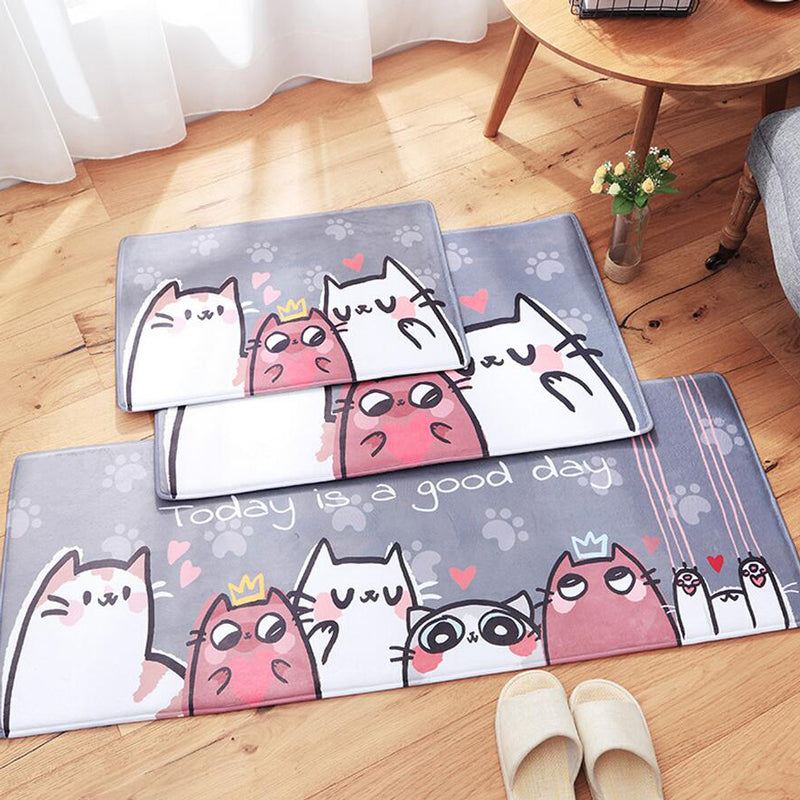New Doormats Animal Cute Cats Printed Bathroom Kitchen Carpet Home Mat for Living Room Anti-Slip Kids Room Floor Mats Tapete Rug
