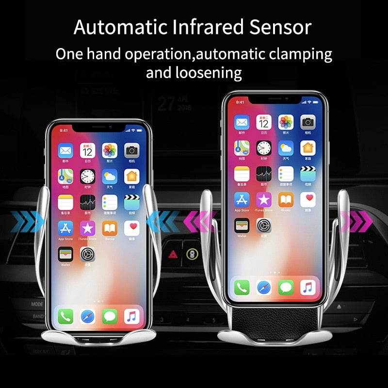 Automatic Clamping Wireless Charger Fast Charging Car Charger Mount For iPhone XR X XS Max Samsung Mobile Phone Holder in Car
