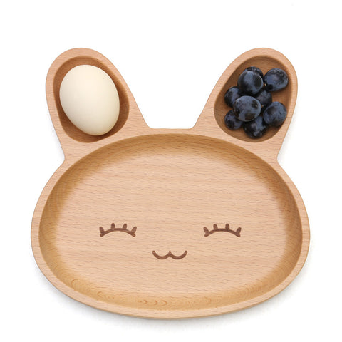 Cute Rabbit Food Dish Wooden Appetizer Platter 3 Compartment
