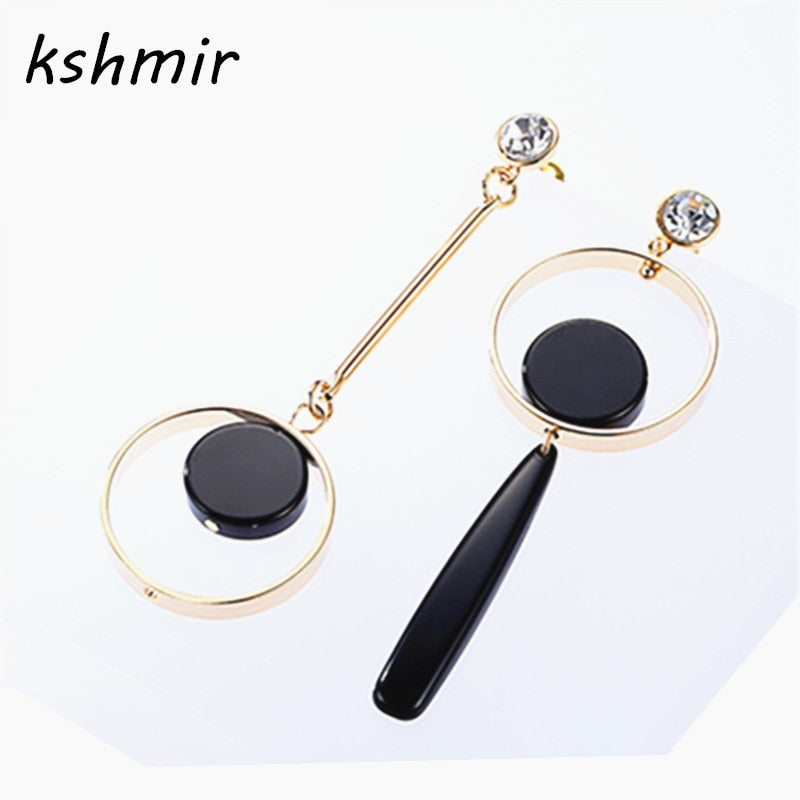 kshmir Fashion simple asymmetric circle earrings Europe United States long pendant earrings wholesale