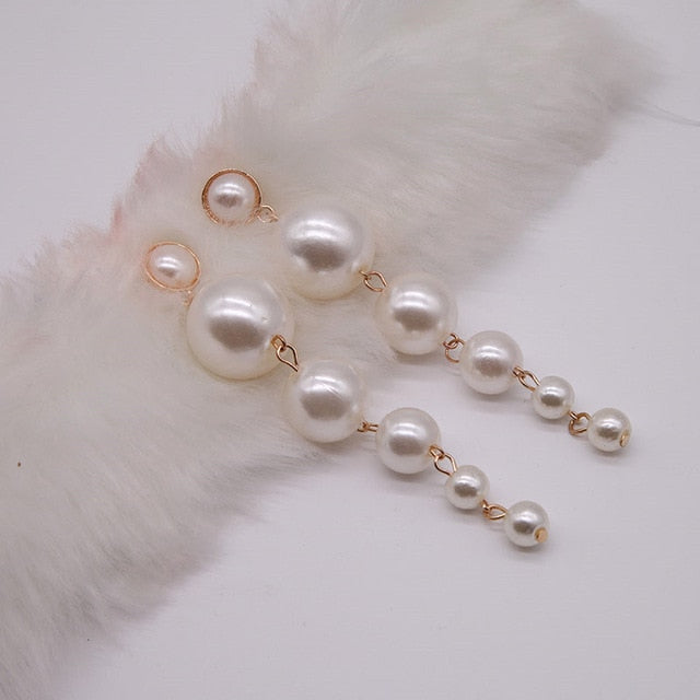 Trendy Elegant Created Big Simulated Pearl Long Earrings Europe and America Statement Drop Earrings For Wedding Party Gift e0207