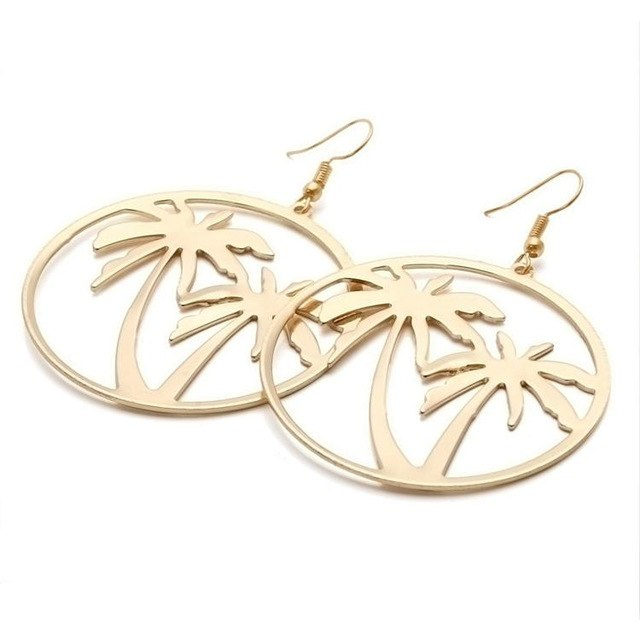 Europe and the United States exaggerate the coconut palm leaves the circle earrings talent restoring ancient ways round earrings