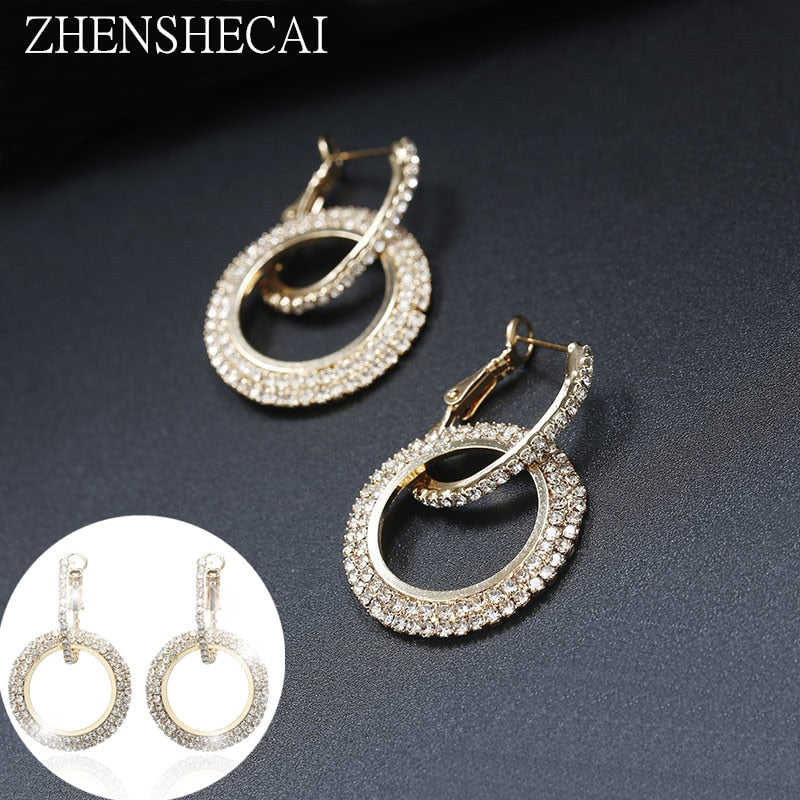 Korean Fashion Rhinestone Circle Long Earrings Temperament Personality Women Europe and The United States Exaggerated Jewelry