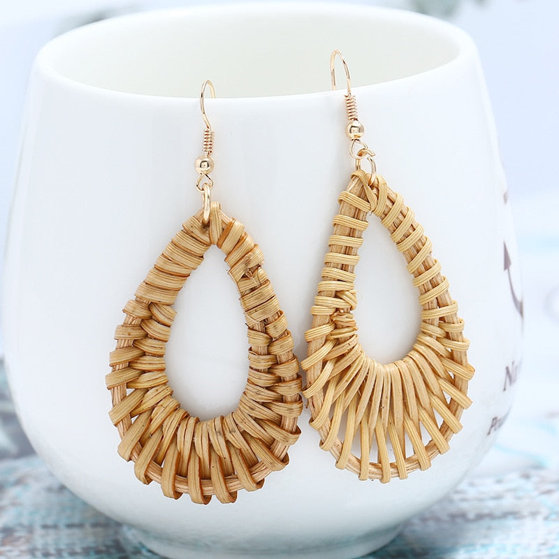 Yobest Europe and America unique earrings for women woven drop shape cool atmosphere bamboo earrings Jewelry
