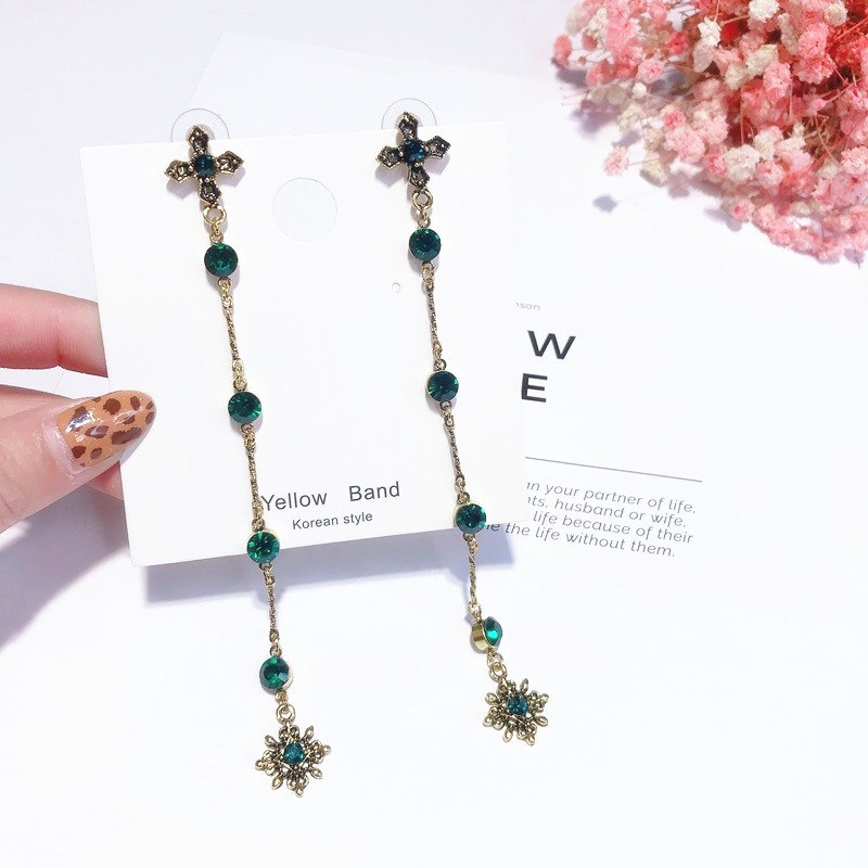 Europe And The United States Vintage Cross Green Crystal Long Drop Dangle Earrings For Women Fashion Elegant Pendientes Femme