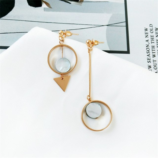 Geometric Triangle Round Earrings Ear Clips Length Europe And America Vintage Original Asymmetric Earrings Female Trendy Jewelry