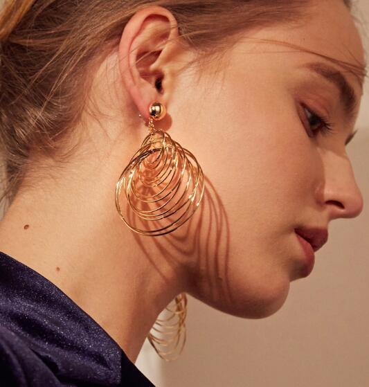 2018 New Europe America temperament Big Earrings Drop Individual Exaggerated Geometry Dangle Earrings For Women Jewelry