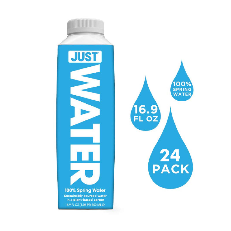 JUST Pure Spring Water 16.9oz Eco-Friendly Plant-Based Bottle (Case of 24)