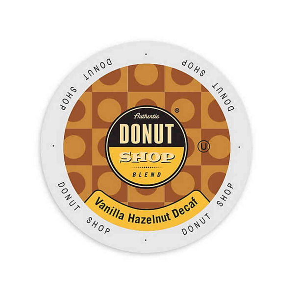 Authentic Donut Shop Decaf Vanilla Hazelnut Single-Serve Coffee Pods (Box of 24)