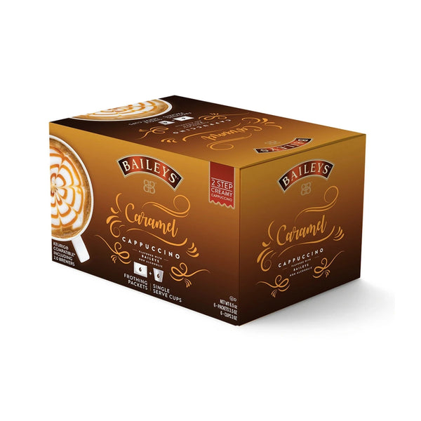 Baileys 2-Step Caramel Latte Creamy Cappuccino (Coffee Pods & Frothing Packets - Box of 6)