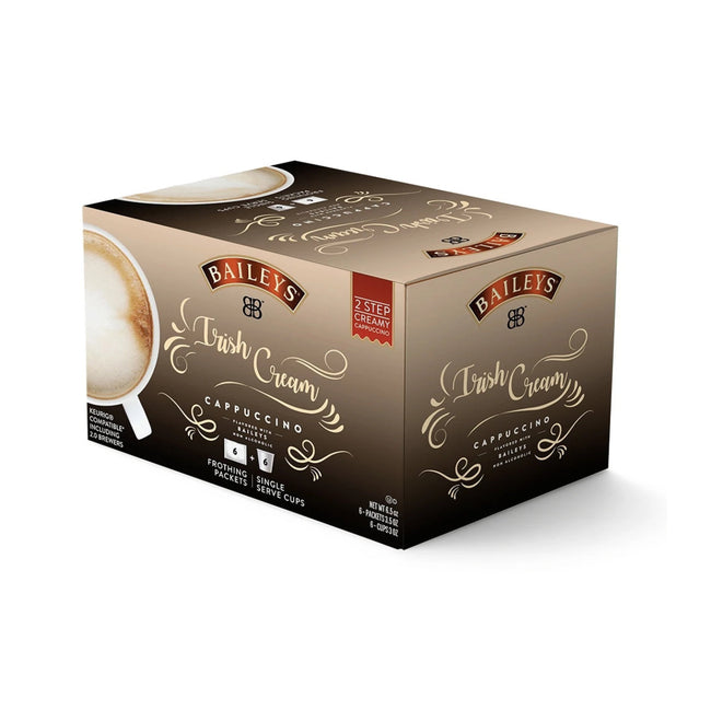 Baileys 2-Step Irish Creme Cappuccino (Coffee Pods & Frothing Packets - Box of 6)