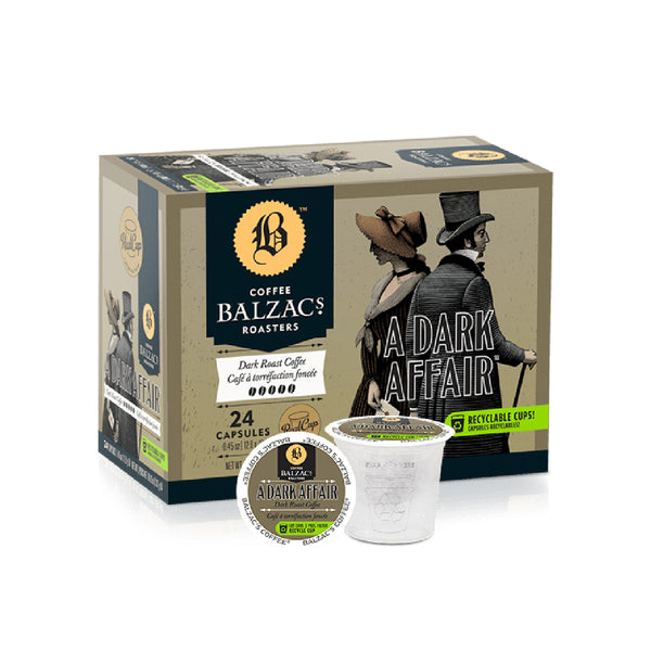 Balzac's A Dark Affair Single Serve Coffee Pods (Case of 96)