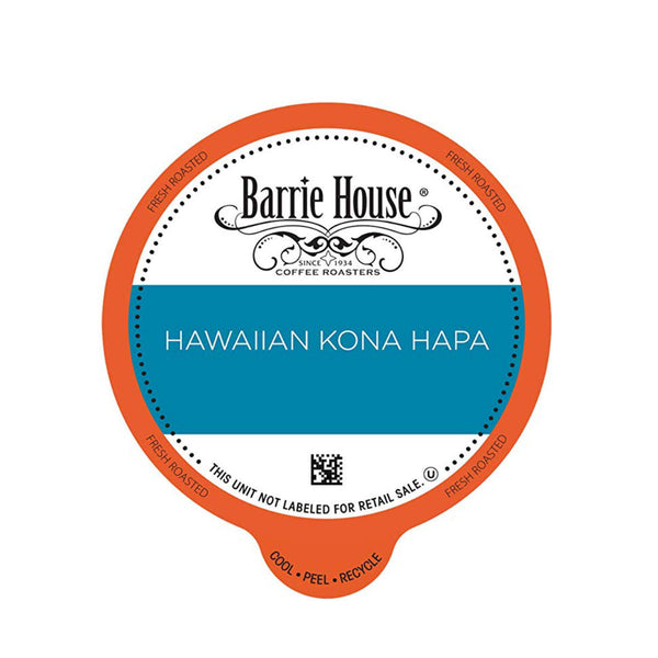Barrie House Hawaiian Kona Hapa Blend Single-Serve Coffee Pods (Box of 24)