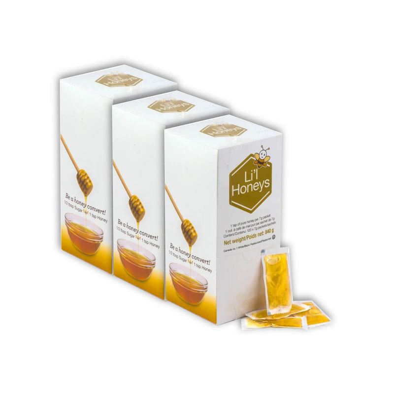 Bee Maid Lil' Honey Packets 3 Boxes Bulk (360 x 7g )