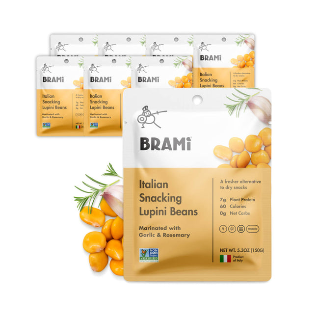 Brami Garlic & Rosemary Lupini Beans 150g / 5.3oz (Case of 8 Bags)
