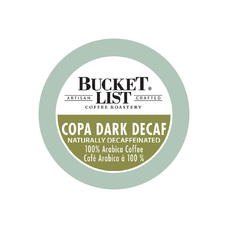 Bucket List Coffee Copa Dark Decaf Single Serve Pods (Case of 96)