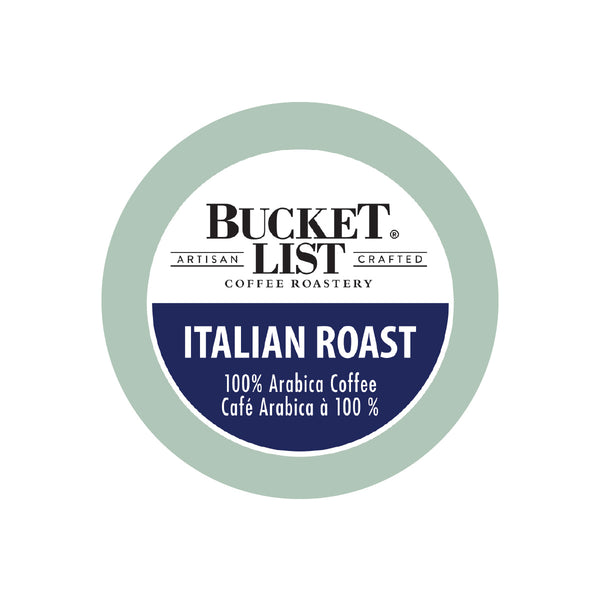 Bucket List Coffee Italian Roast Single Serve Pods (Case of 96)