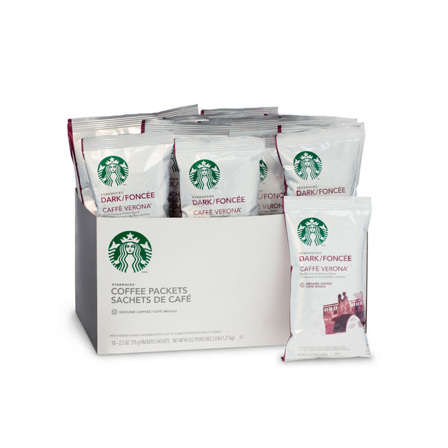 Starbucks Caffe Verona Ground Coffee Packets (Box of 18 X 2.5oz)