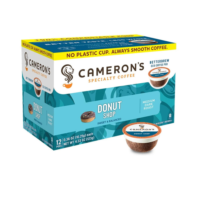 Cameron's Donut Shop Single-Serve Eco Coffee Pods (Box of 12)