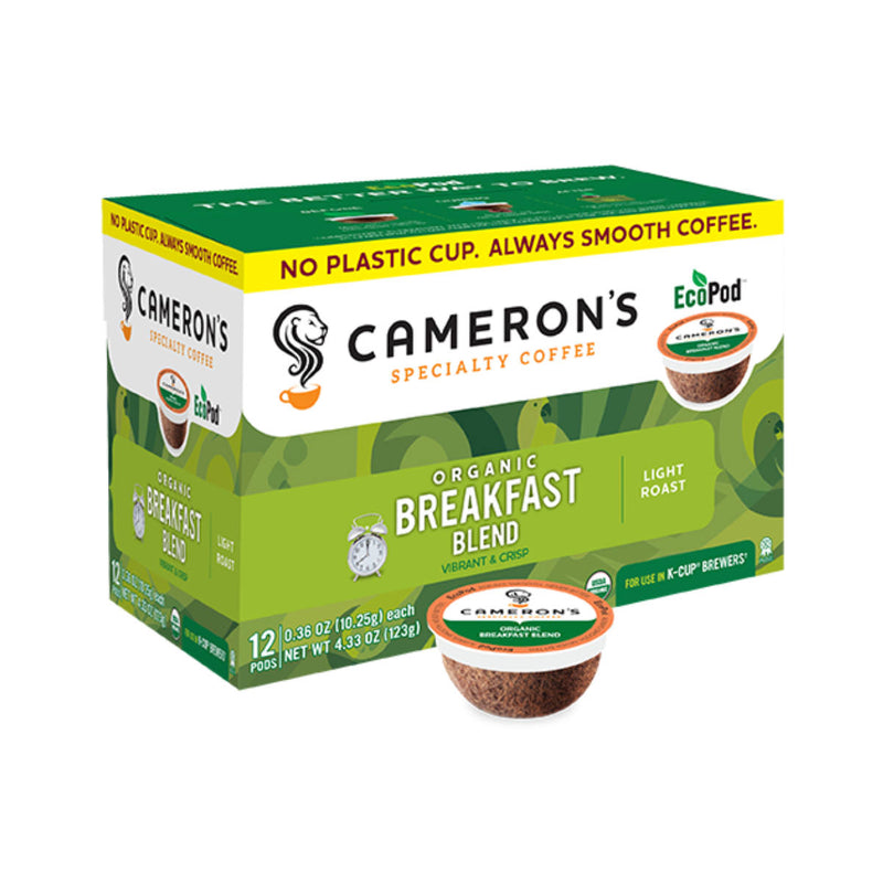 Cameron's Organic Breakfast Blend Single-Serve Eco Coffee Pods (Box of 12)