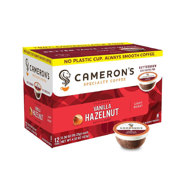 Cameron's Vanilla Hazelnut Single-Serve Eco Coffee Pods (Box of 12)