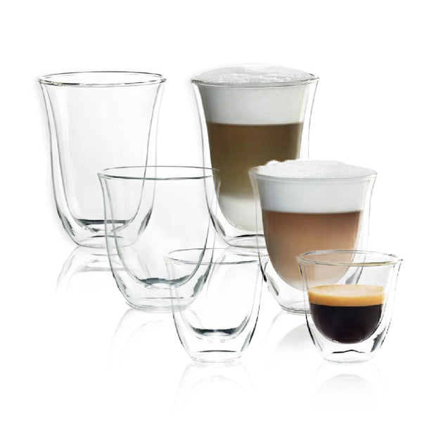 DeLonghi Double Walled Glassware Bundle (2x Espresso, 2x Cappuccino, 2x Latte)