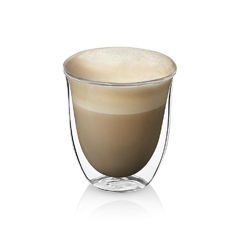 DeLonghi Double Walled Cappuccino & Coffee Glass with Beverage