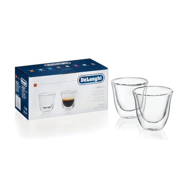 DeLonghi Double Walled Espresso Glasses (Set of 2) with Box