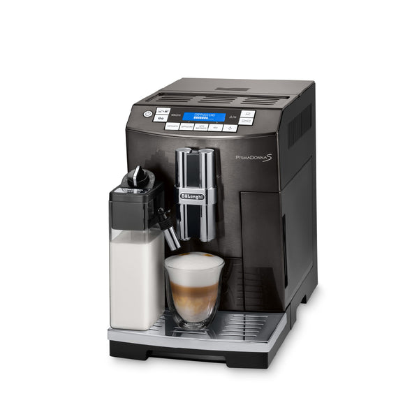 DeLonghi PrimaDonna BLACK Deluxe with Single Touch Cappuccino (ECAM28465B) Side Front