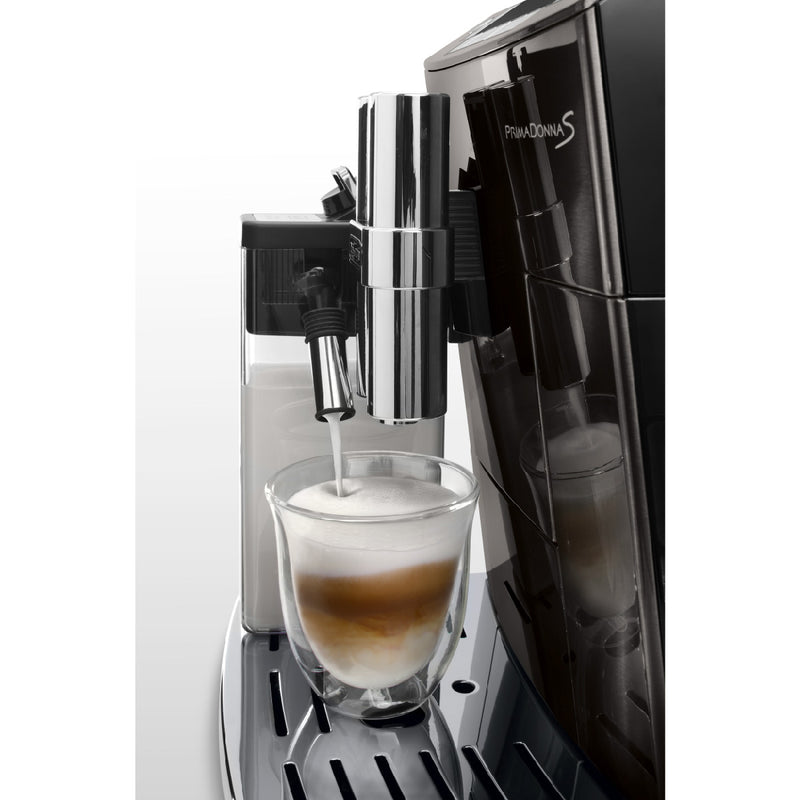 DeLonghi PrimaDonna BLACK Deluxe with Single Touch Cappuccino (ECAM28465B) Side