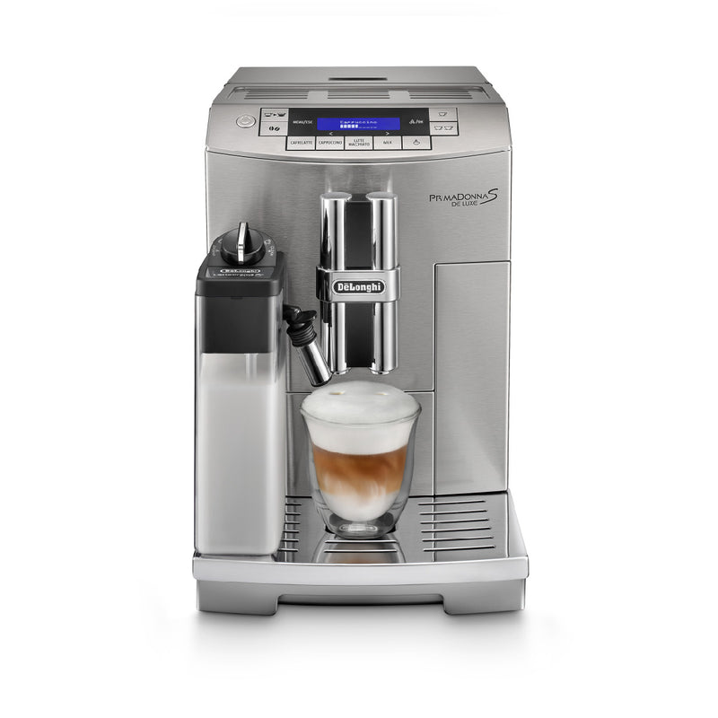 DeLonghi PrimaDonna Deluxe, Patented Single touch Cappuccino (ECAM28465M) Front