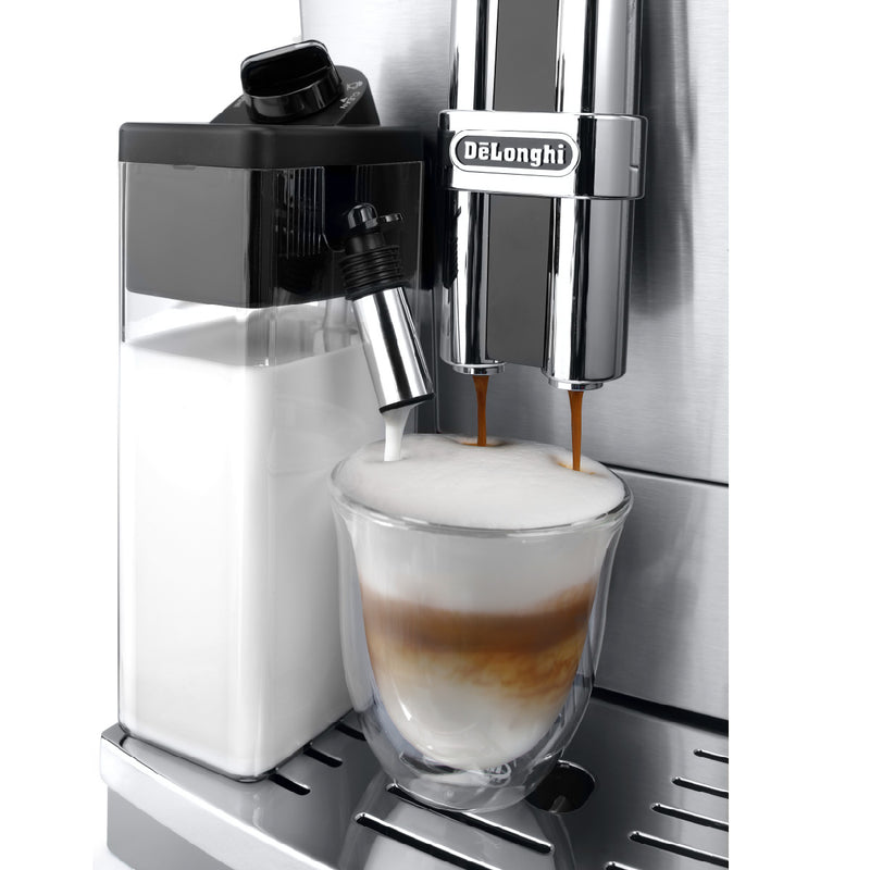 DeLonghi PrimaDonna Deluxe, Patented Single touch Cappuccino (ECAM28465M) Side