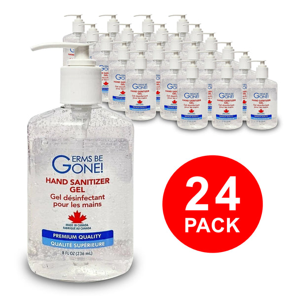 Germs Be Gone! Hand Sanitizer Gel Pump Bottles (Bulk 24 x 8oz / 236mL)