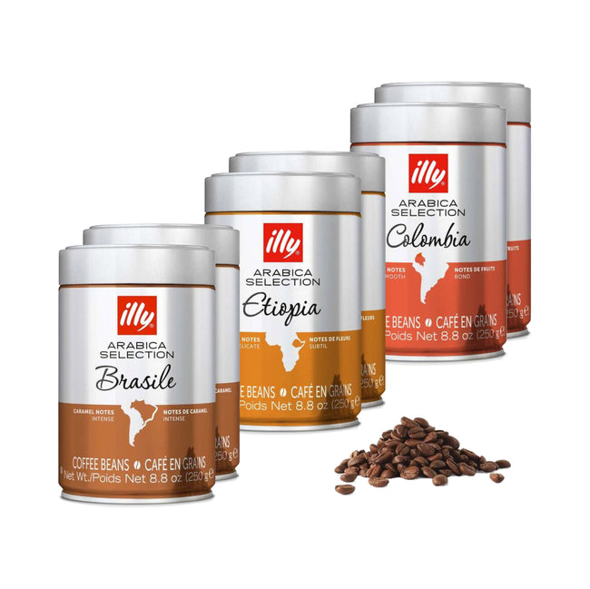 Illy Arabica Selection Whole Bean Coffee Variety Pack (Case of 6)