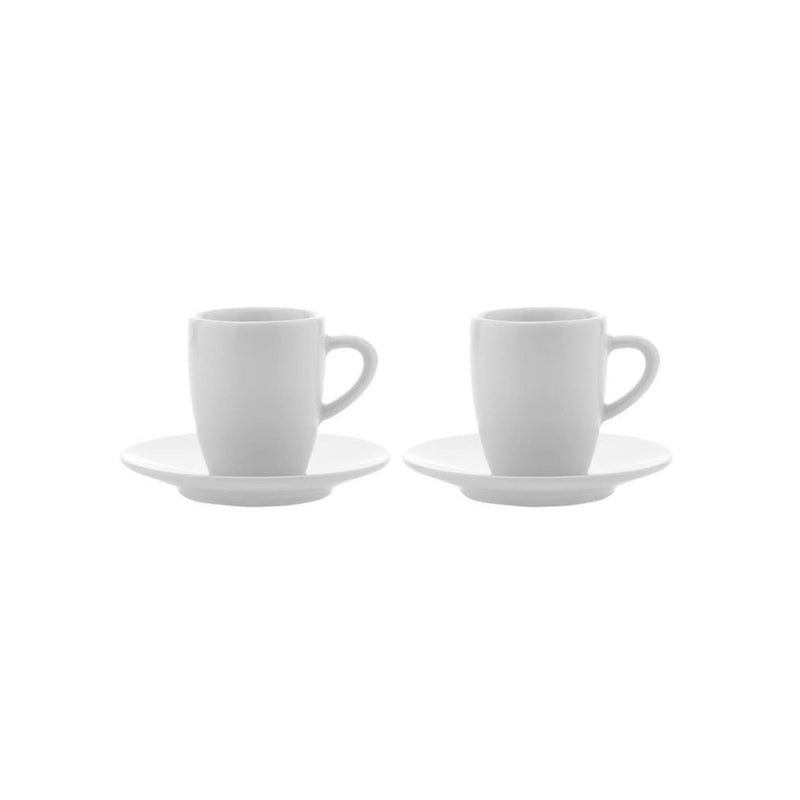 Jura White Espresso Cups 2 Cups and Saucers