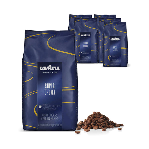 Lavazza Super Crema Espresso Coffee Beans Bulk Value Pack (6x 1kg / 2.2lb)