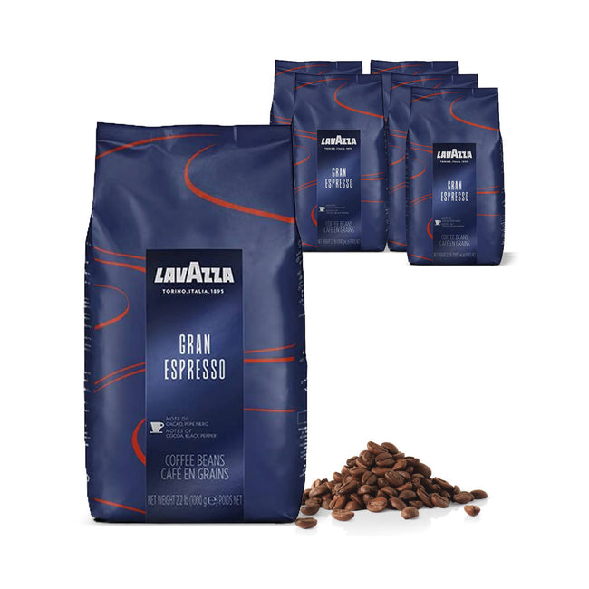 Lavazza Gran Espresso Espresso Coffee Beans Bulk Value Pack (6x 1kg / 2.2lb)
