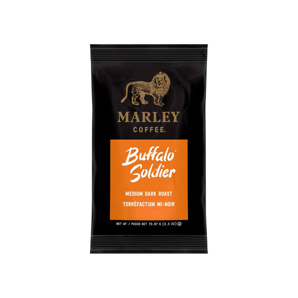 Marley Coffee Buffalo Soldier Ground Coffee Packets (Box of 64 X 2.5oz)