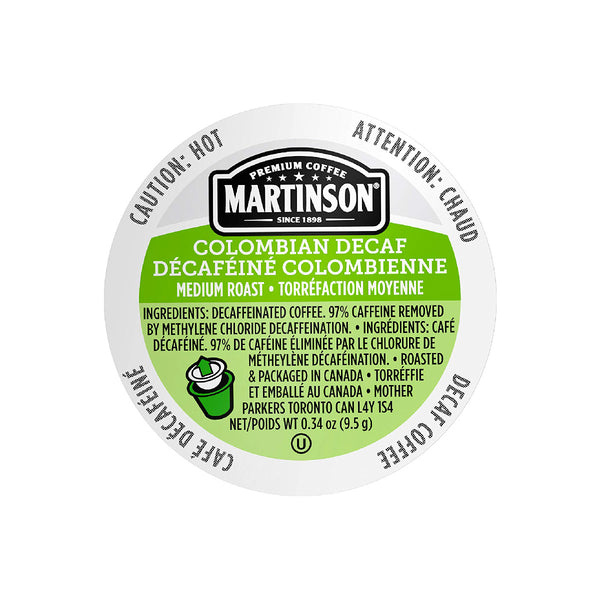 Martinson Coffee Decaf Colombian Single Serve Pods (Box of 24)