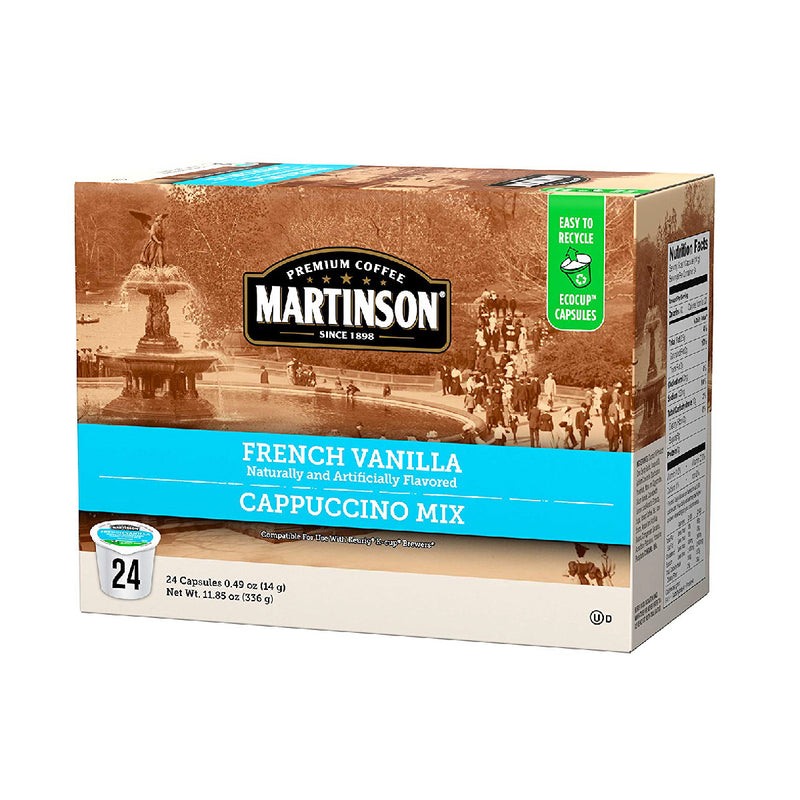 Martinson Coffee French Vanilla Cappuccino Single Serve Pods (Box of 24)