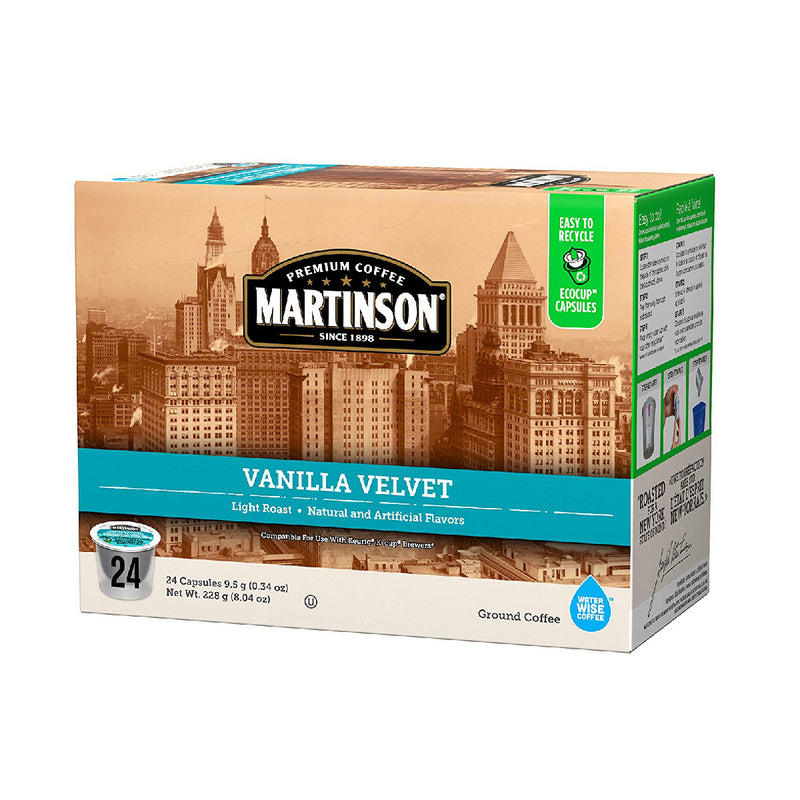 Martinson Coffee Vanilla Velvet Single Serve Pods (Case of 96)