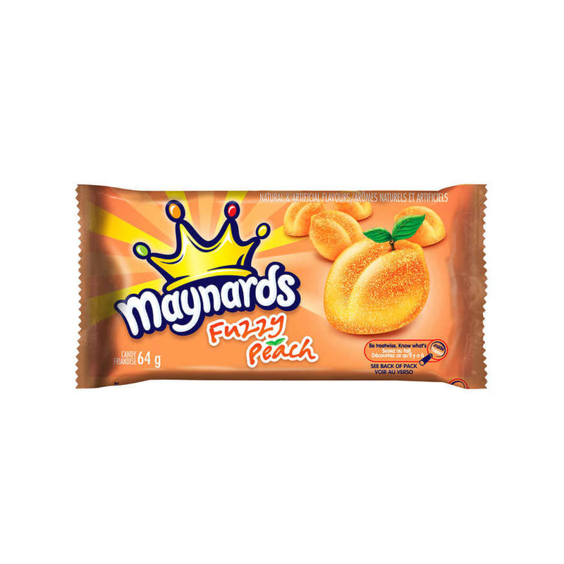 Maynards Fuzzy Peach Gummy Candy Bulk 64g Bags (Case of 18)